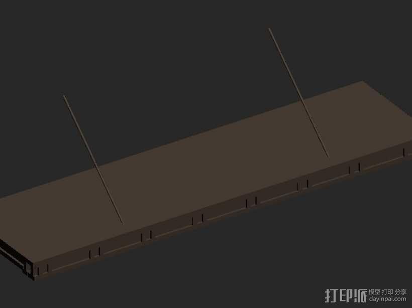 中式轻钢雨棚 3D模型  图1