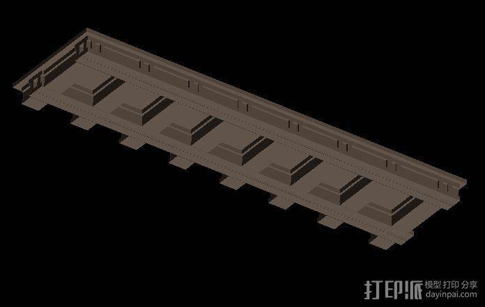 中式轻钢雨棚 3D模型  图2