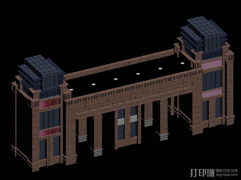 519大门 小区001 3D模型  图1