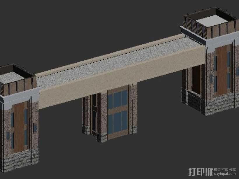 小区大门 3D模型  图1