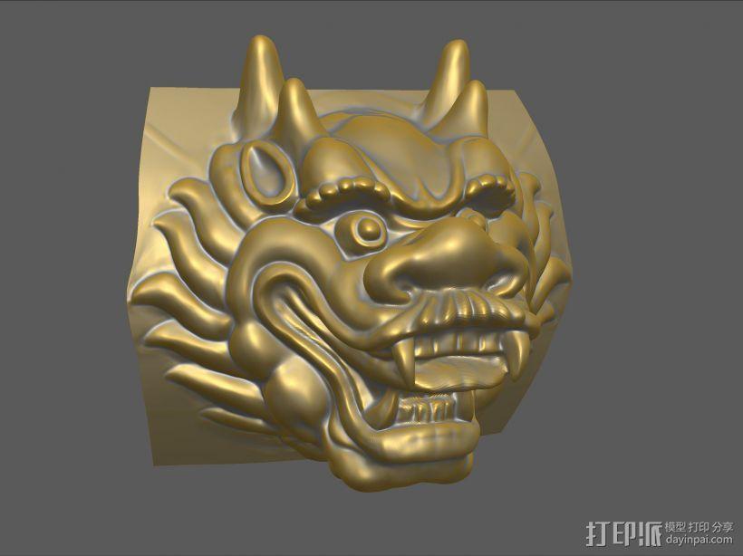 铜质龙头兽首数字雕刻 3D模型  图1