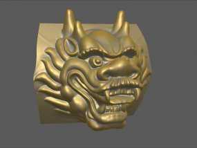 铜质龙头兽首数字雕刻 3D模型