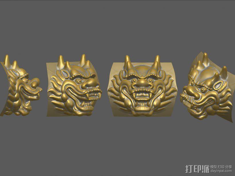 铜质龙头兽首数字雕刻 3D模型  图2