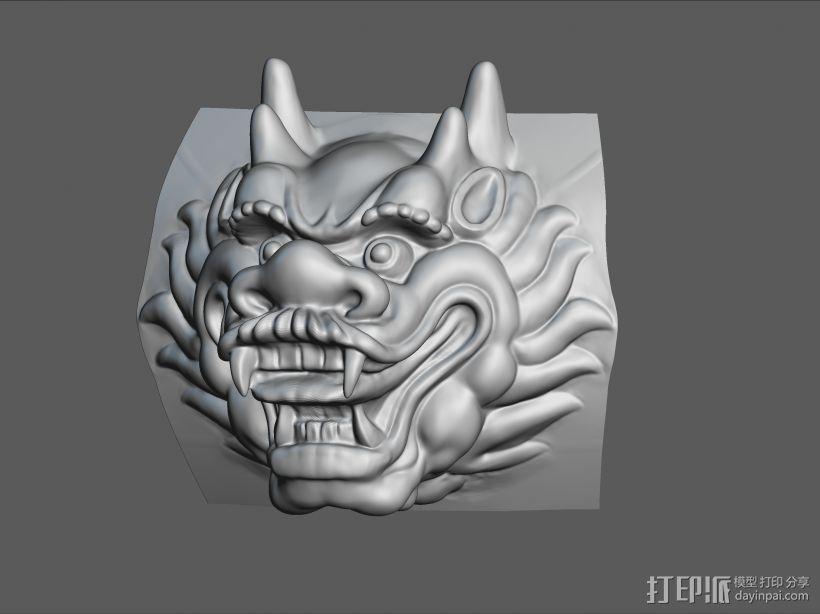 铜质龙头兽首数字雕刻 3D模型  图3