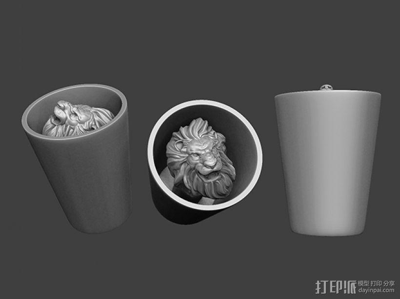 狮头水杯 3D模型  图3