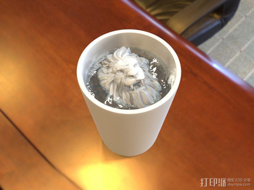 狮头水杯 3D模型  图1