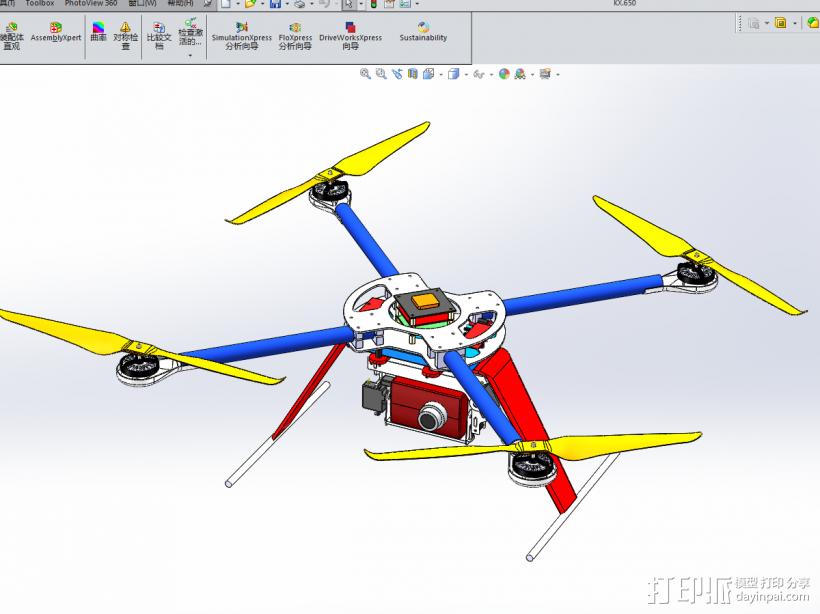 四轴飞行器 3D模型  图2