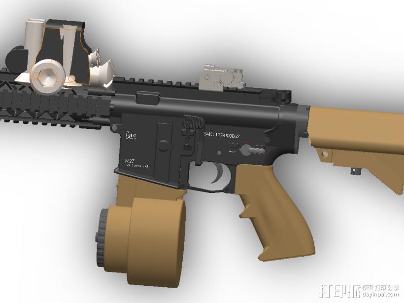 半自动步枪 3D模型  图2