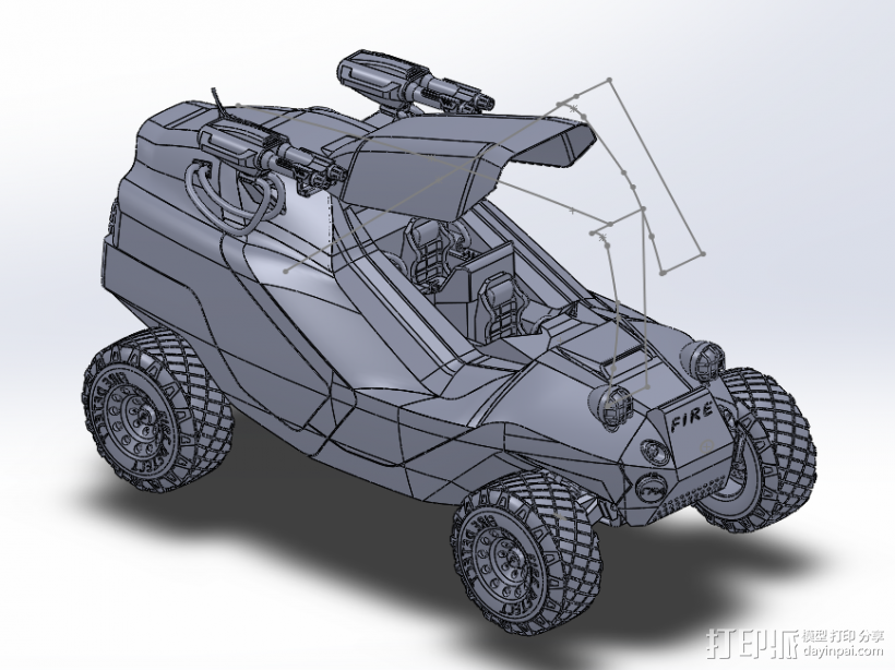 模型消防车 3D模型  图1