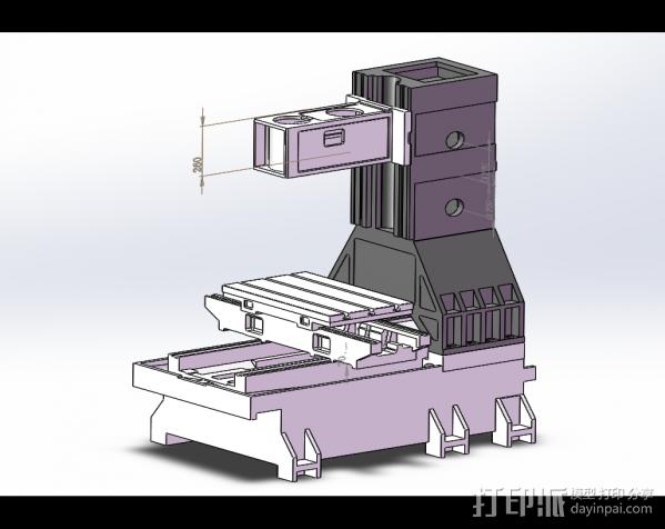 立式加工中心光机模型 3D模型  图2