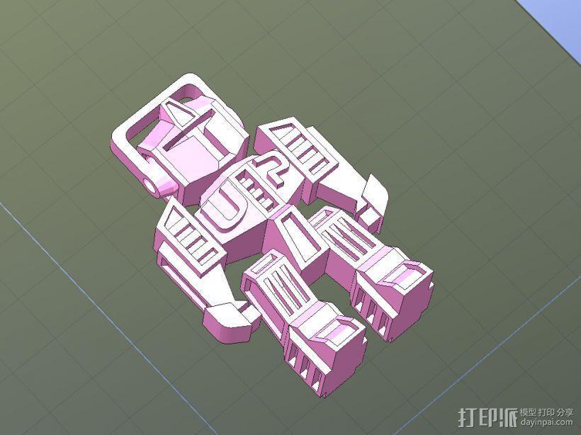 机器人钥匙扣-一次性打印,头和四肢可动 3D模型  图1