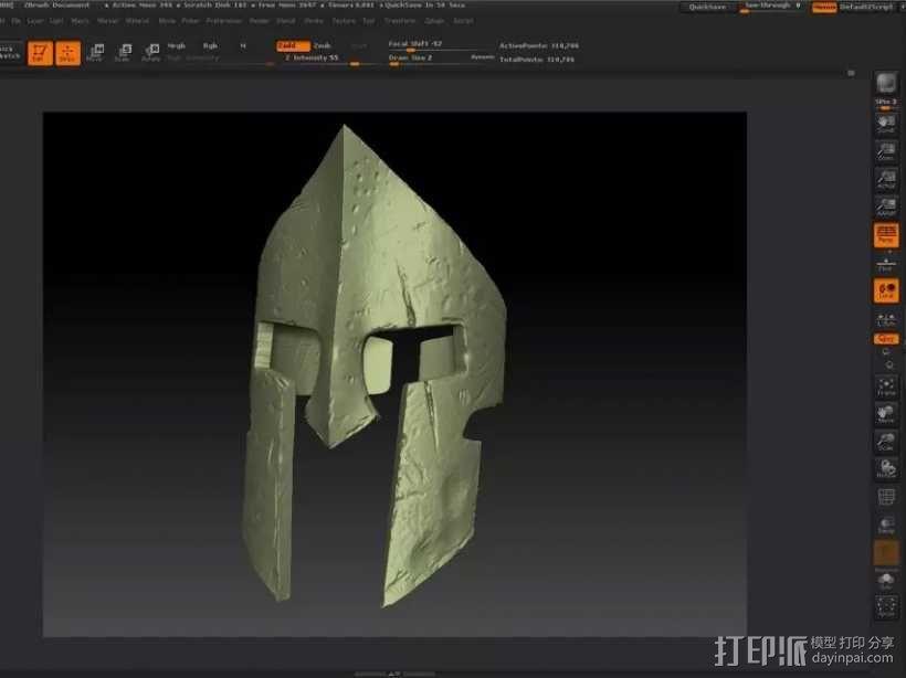 斯巴达300勇士-国王头盔-戒指(原创设计) 3D模型  图5