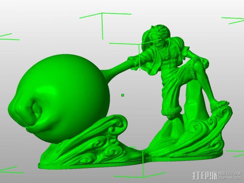 《海贼王》——蒙其·D·路飞(三档象枪!) 3D模型  图6