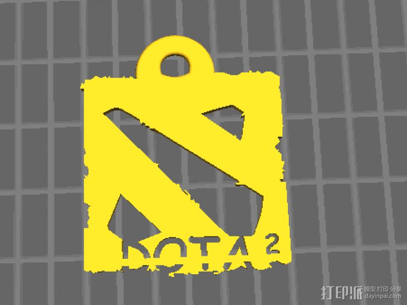 DOTA2 logo钥匙挂件 3D模型  图1