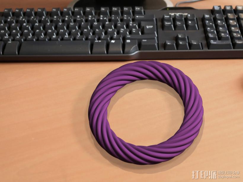 荷花截面螺旋手镯 3D模型  图1