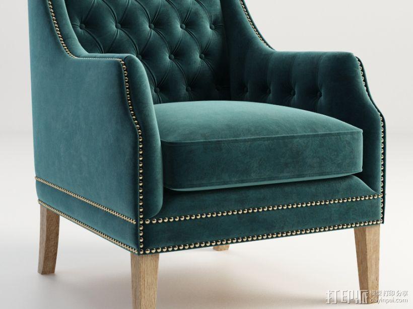 蓝色椅子 3D模型  图1