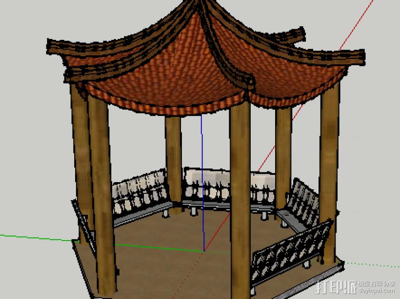 中式景观亭 3D模型  图1