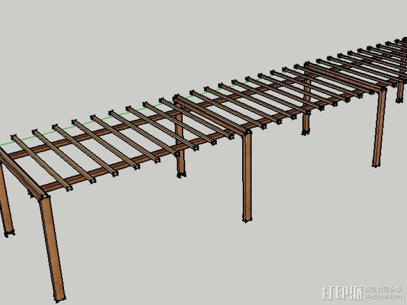 亭廊架 3D模型  图1