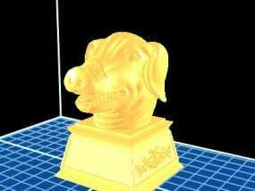 十二生肖 猪首 3D模型