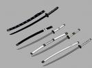 【武士刀】4把高模 3D模型 图2