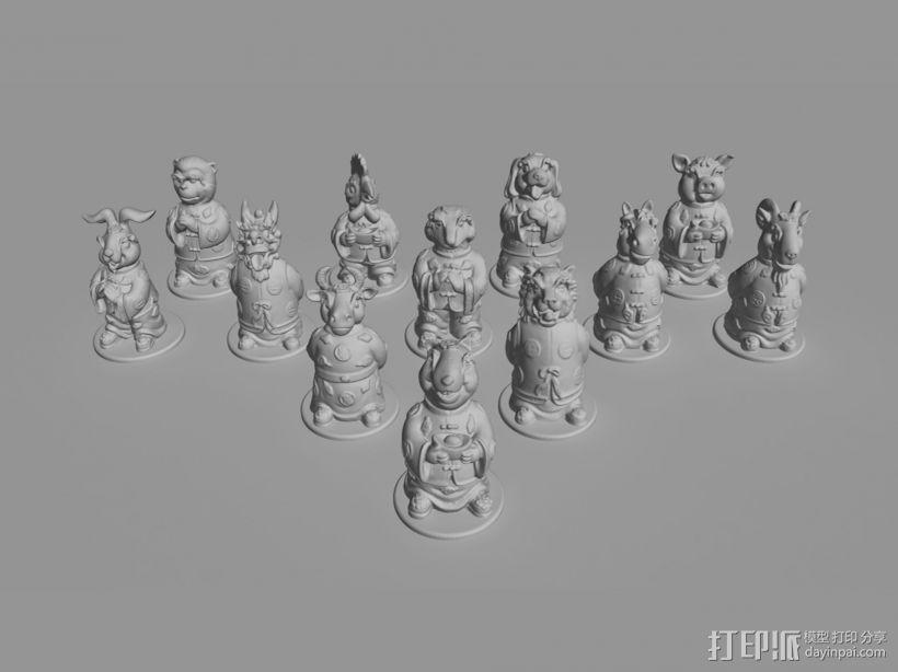 十二生肖贺新春摆件系列—全套 3D模型  图1