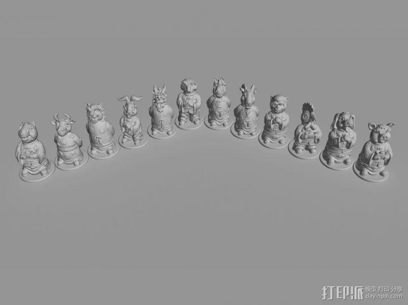 十二生肖贺新春摆件系列—全套 3D模型  图2
