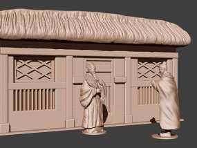 《三国演义之三顾茅庐》背景茅庐 3D模型