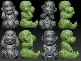 猴子,猴年 不说不看不听不动 3D模型