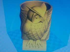 猫头鹰笔筒 3D模型