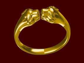 豹头戒指 3D模型