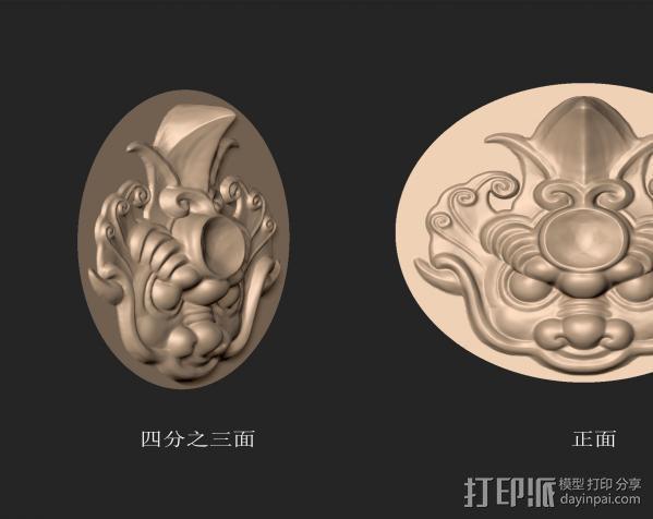 圆形镜面独角兽头雕刻 3D模型  图2