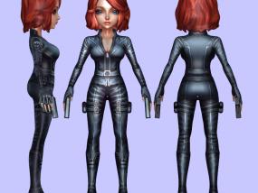 Q版黑寡妇全彩3D打印模型 3D模型