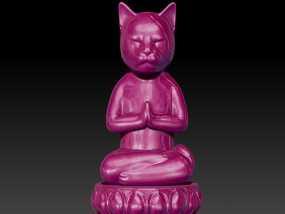 瑜伽猫小摆件 3D模型