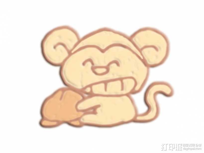 咧嘴笑的猴子 3D模型  图1