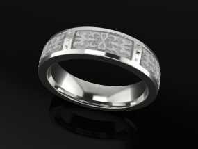 浮雕花纹戒指 3D模型