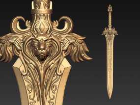 《魔兽》 莱恩·乌瑞恩 狮心剑 莱恩之剑 3D模型