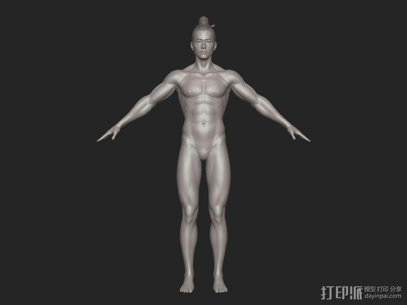 ZB标准男人体雕刻+古装发型 3D模型  图4
