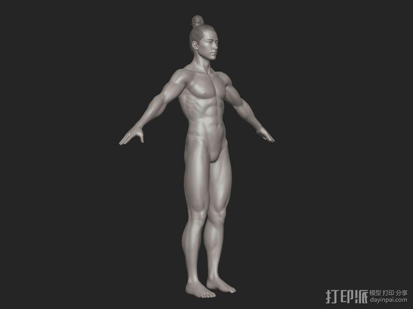 ZB标准男人体雕刻+古装发型 3D模型  图5