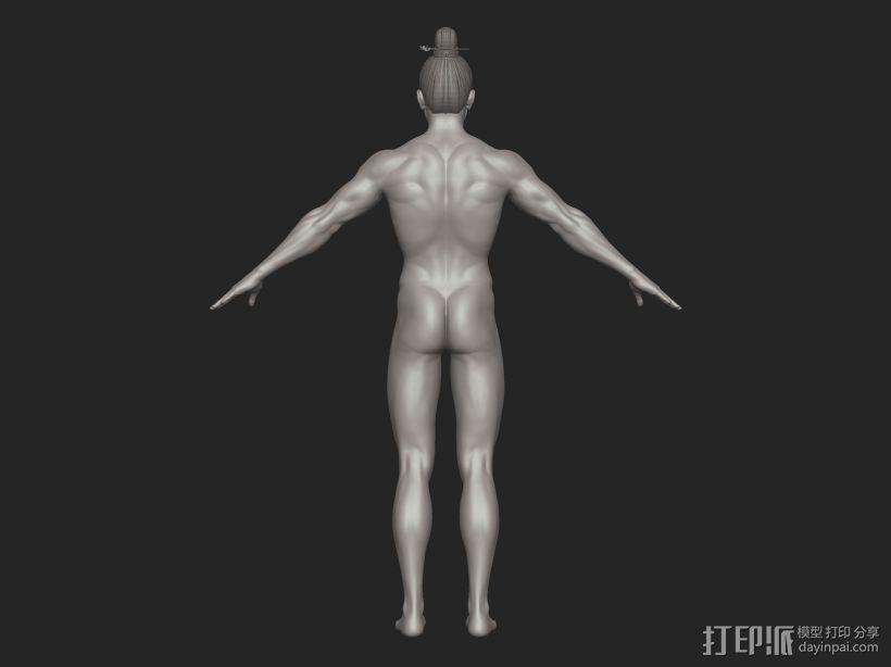 ZB标准男人体雕刻+古装发型 3D模型  图6
