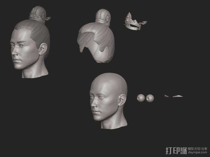 ZB标准男人体雕刻+古装发型 3D模型  图8