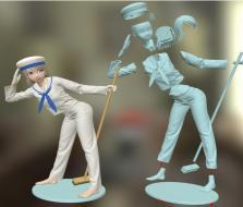 拖地女孩手办 3D模型