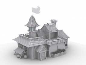 动漫小木屋 3D模型
