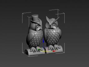 猫头鹰夫妻 3D模型